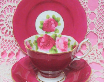 Beautiful Vintage Royal Albert Dark Pink OLD ENGLISH ROSE Cup, Saucer & Plate.