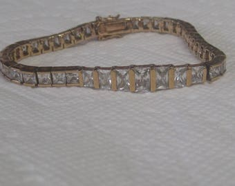 Beautiful Gold Plated Sterling Silver Bracelet with Stones