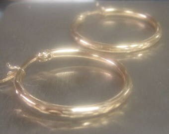 Gold Plated Sterling Silver Marked 925 Hoop Earrings.