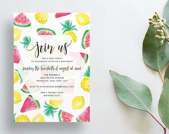 Watercolor Fruits Shower Invites / Lemon Watermelon Pineapple / Summer Party Shower / Calligraphy / Semi-Custom Print-at-Home Invitations