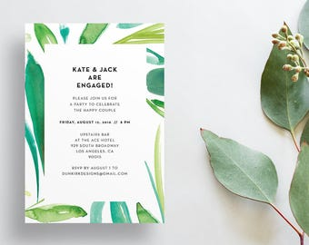 Watercolor Leaves Shower Invites / Green Leaves / Calligraphy / Semi-Custom Party Bridal Shower Invites / Print-at-Home Invitations
