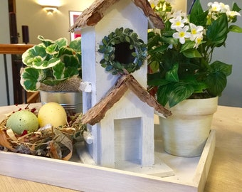 Birdhouse Centerpiece Spring Handmade Bird Easter Gift Mother's Day Tabletop Decor Desktop Farmhouse Decor Gift Michelle Dornstreich