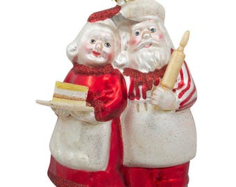 "5.25"" Mr and Mrs Claus Baking a Cake Glass Christmas Ornament"