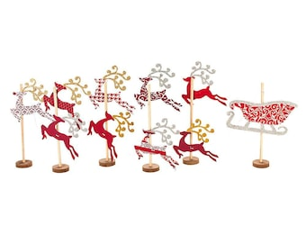 Set of 6 Flying Reindeer Figurines DIY Craft Kit