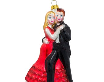 "5.25"" Dancing Couple Blown Glass Christmas Ornament"