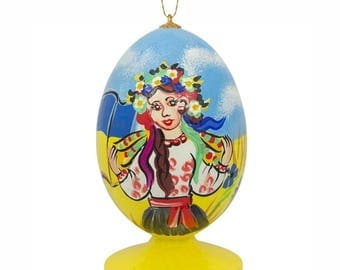 """3.5"""" Ukrainian Girl with Flag in Vyshyvanka Blouse on Independence Day Easter Egg Christmas Ornament"""