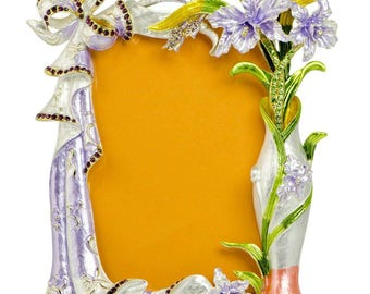 """7"""" Faberge Orchid Flowers Enameled Russian Antique Style Picture Frame"""