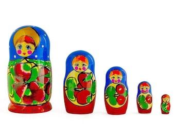 "6"" Set of 5 Maydanovskaya in Blue Scarf Russian Nesting Dolls Matryoshka"