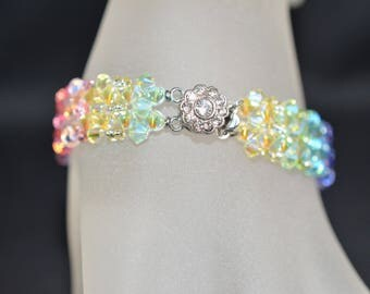 "Swarovski crystal bracelet ""Rainbow"" multicolored cuff"