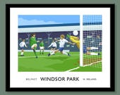 Windsor Park - vintage style railway travel poster art of George Best in a Northern Ireland football match in Belfast - GAWA