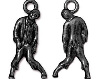 Zombie Charm Metal Halloween Tierracast Pewter Small Walkers Pendant 4 pieces Made in USA