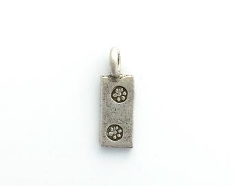 Thai Silver Hand Stamped Rectangle Charm Karen Hill Tribe Bohemian Finding Jewelry Making Beading Supply Unique Tiny Pendant Sundance Style