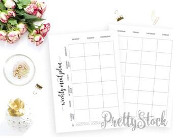 Weekly Meal Planner Printable, Meal Printable Planner Inserts, Weekly Menu Planner Printable, A4, A5, Letter, Halfletter, Weekly Menu Binder