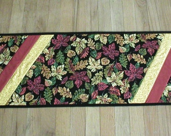 """Handmade Quilted Table Runner, with Fall Leaves on Black, and Rust and Dark Yellow Accents, About 13""""x45"""" (Runner2143-over40)"""