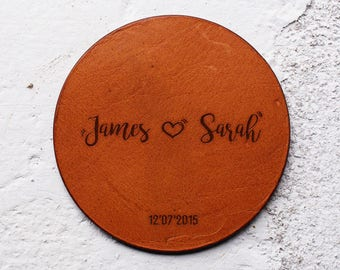 Christmas gift, Wedding gift, Leather Anniversary gift, Husband gift, Wife gift, Leather Coaster, Personalised Leather Coasters,Gift for him