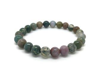 Elastic bracelet made of moss green Agate beads