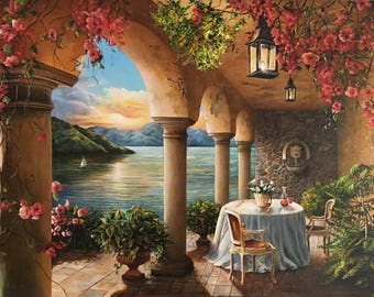 Sunset Vineyard Fine Art Print Mountains Lake Flowers Dining Wine Country