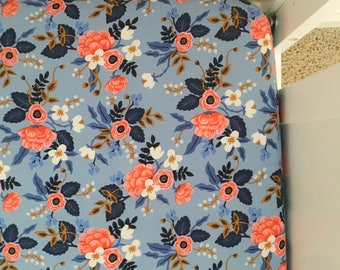 Rifle Floral changing pad cover, lavender & coral flowers, baby girl Bedding, changing pad cover