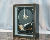 Clock made from a computer hard drive. HDD Clock - Office desk Clock - Unique Wall Clock - Unique Gift - Boyfriend gift - Husband gift.