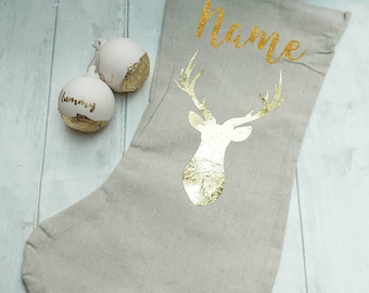 Gold christmas stocking, stag decoration, personalised stocking, christmas decoration, family gift, heirloom gift, modern, on trend decor