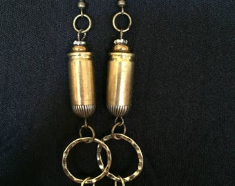 bullet casing earrings with skull