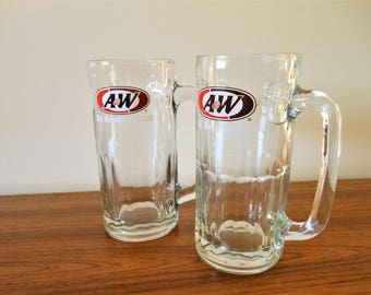 Two Vintage A&W Root Beer Mugs, Root Beer Float Mugs, Root Beer Steins, Large Soda Glasses, A and W Frosty Mugs