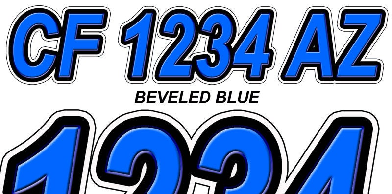 Blue Bevel Boat Registration Numbers Or Letters Decals