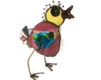 Enamel Glass bird/freistehend/Glas fun abstract/Suncatcher window image/Ostern/fun bird/Tiffany/Stained Glass/Caboschon