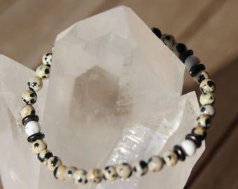 Bracelet Jasper Dalmatian and howlite beads