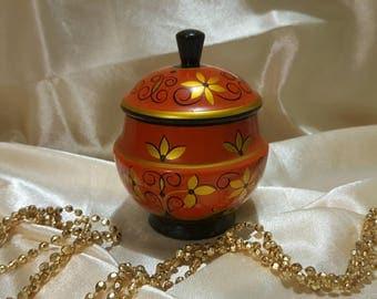 handmade jewelry box Khokhloma painting