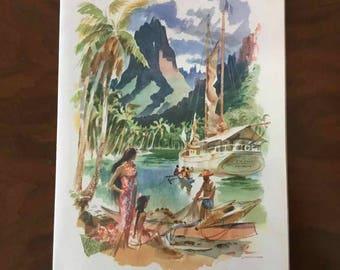"Vintage Louis Macouillard Matson Lines ""Tahiti"" Menu Cover - Made in USA - 1959"