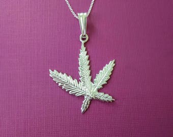 925 sterling silver Marijuana leaf pendant/necklace 925 sterling silver/Marijuana leaf charm /silver charm/ silver pendant