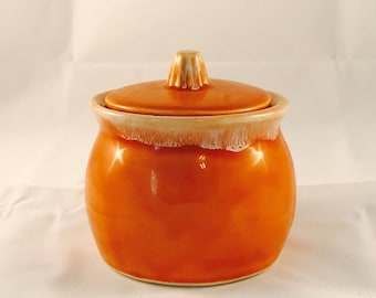 Hull Oven Proof Pottery Orange Drip Sugar Bowl