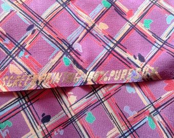 Geometric Print Silk Remnant fabric, pink, purple, 100% silk, pure silk, plaid, diamond print, HALF YARD remnant
