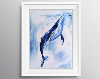 Beyond the Sea - Physical Print of Whale Surfacing Oil Painting