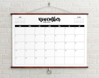2017-2018 Planner Big Wall Calendar Printable instant gift