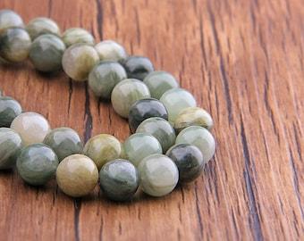 Natural Moss Agate Beads Round Gemstone Beads Smooth Beads Natural Stone Beads 6mm/8mm/10mm/12mm genuine Beads 15 inch Strand