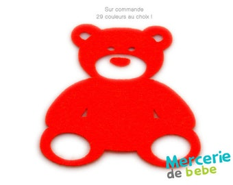 Teddy bear shaped felt - Dimensions: 10 cm x 13 cm - colour choice