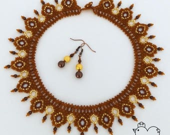 Brown & Gold Beaded Necklace + FREE Earrings