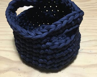 Small Navy Round Crochet Basket
