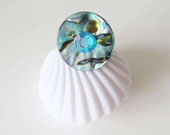turquoise mother of Pearl ring