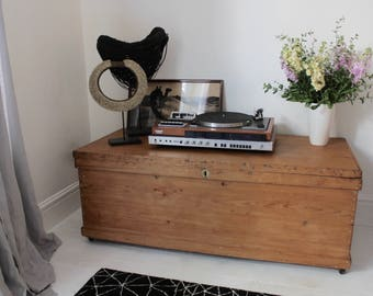 Ciara Large Vintage Reclaimed 1920s Pine Bedding Box or Chest... It has an amazing patina on the hardware only achieved with time and use
