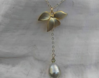 Gold Orchid Grey/Silver Tahitian Pearl Necklace