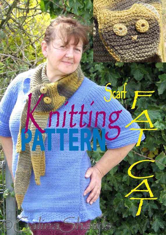 DIY Fat Cat Scarf Knitting Pattern PDF File Handmade