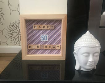 50th Birthday Box Frame with cross stitch numbers in blue