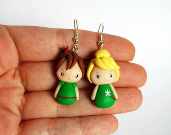 OUTLET! Sale! Peter Pan and Tinker Bell Stud Earrings polymer clay