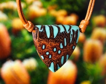 Turquoise Resin and Banksia Seed Pod Pendant; Wood and Resin Jewelry, Wood and Resin Pendant, Resin Jewelry