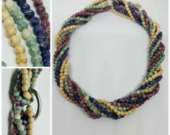 Vintage twisted agate necklaces with clasp