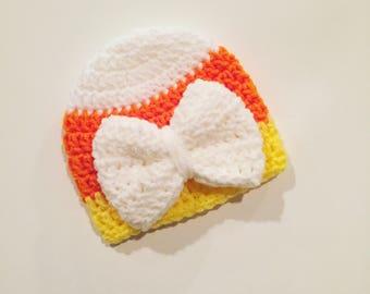 The Candy Corn Hat (newborn gift baby girl crochet hat handmade children's hat Halloween hat bow beanie