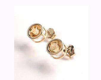 14k Gold Citrine Stud Earrings 1.52ct.    E422